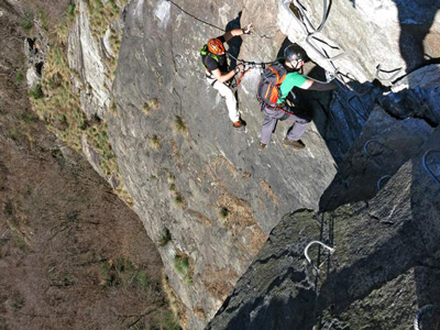 Via ferrata route excursion with Alpine Guide: Pont Canavese