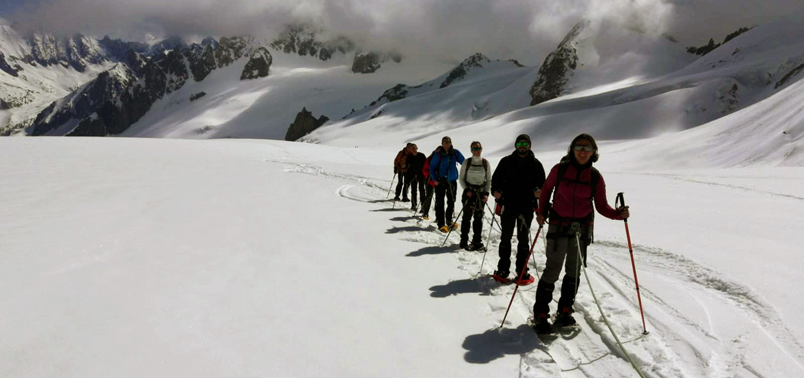 Mountaineering experience on Mont Blanc glacier with crampons or snowshoes