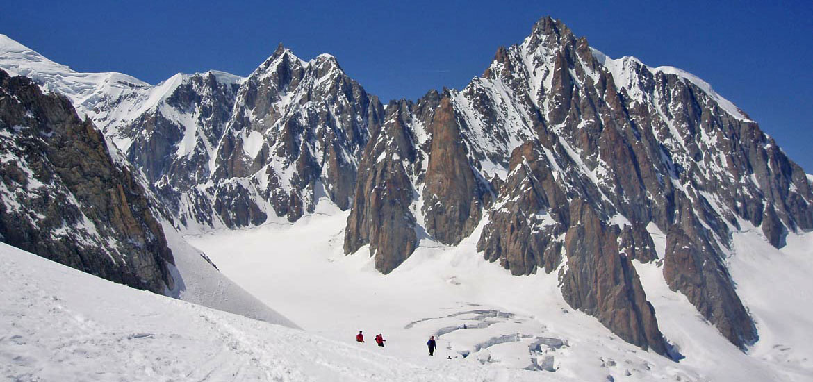 Vallée Blanche day hike: mountaineering experience on Mont Blanc glacier with crampons or snowshoes