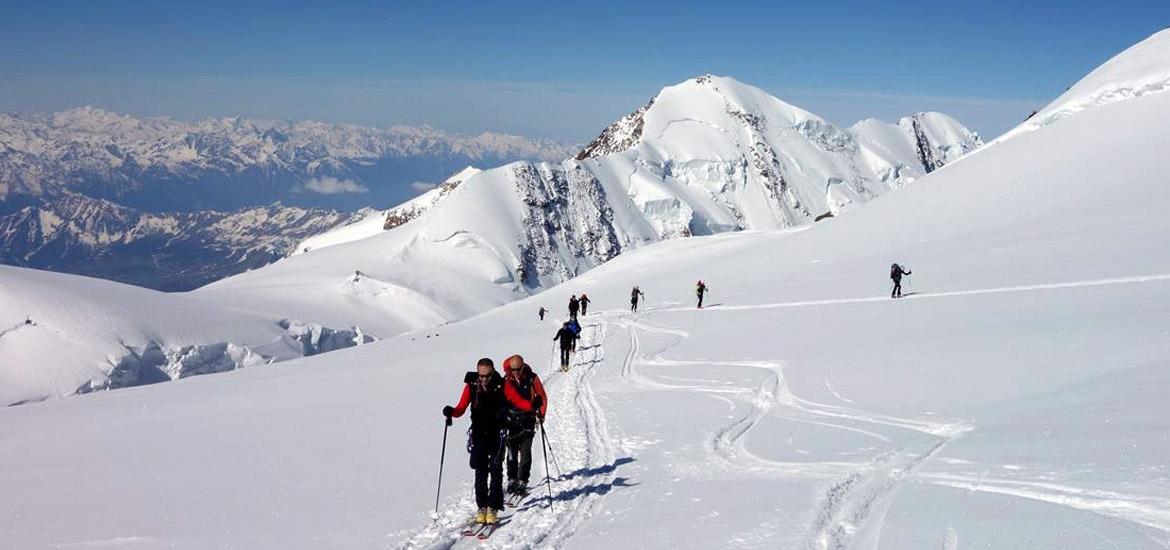 Monte Rosa ski touring to summit, capanna margherita, with mountain guide