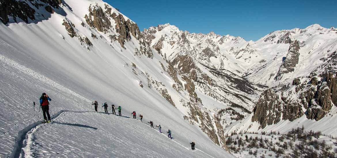 Ski touring in Piedmont Alps: Val Maira
