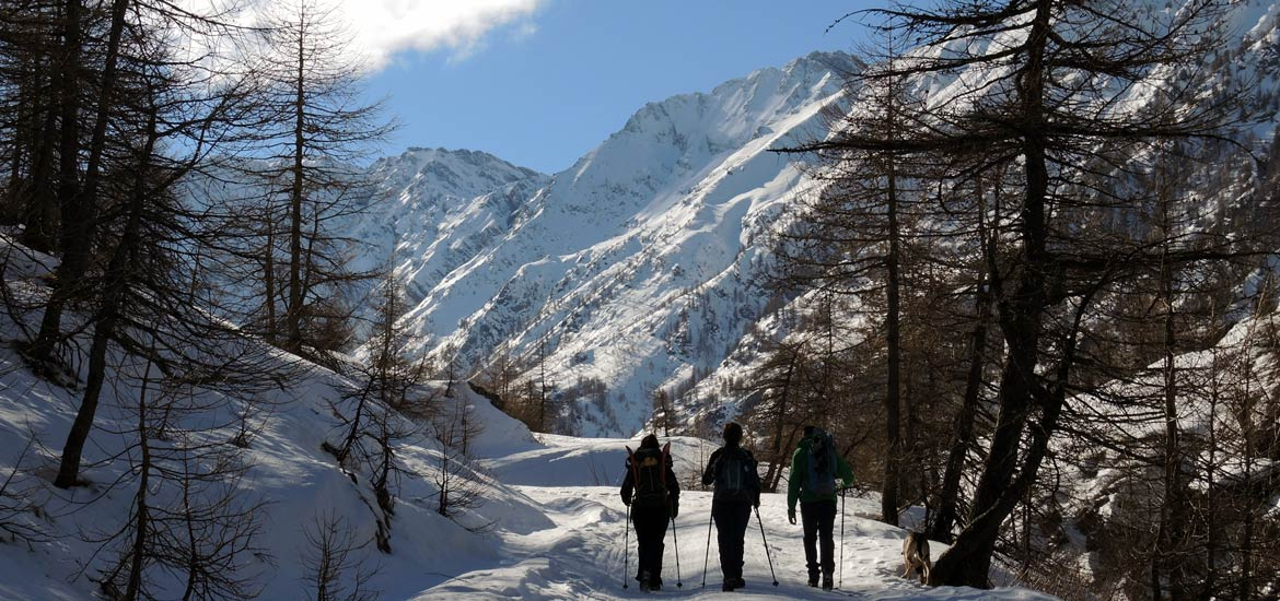 Hiking with snowshoes in the Alps of Piedmont
