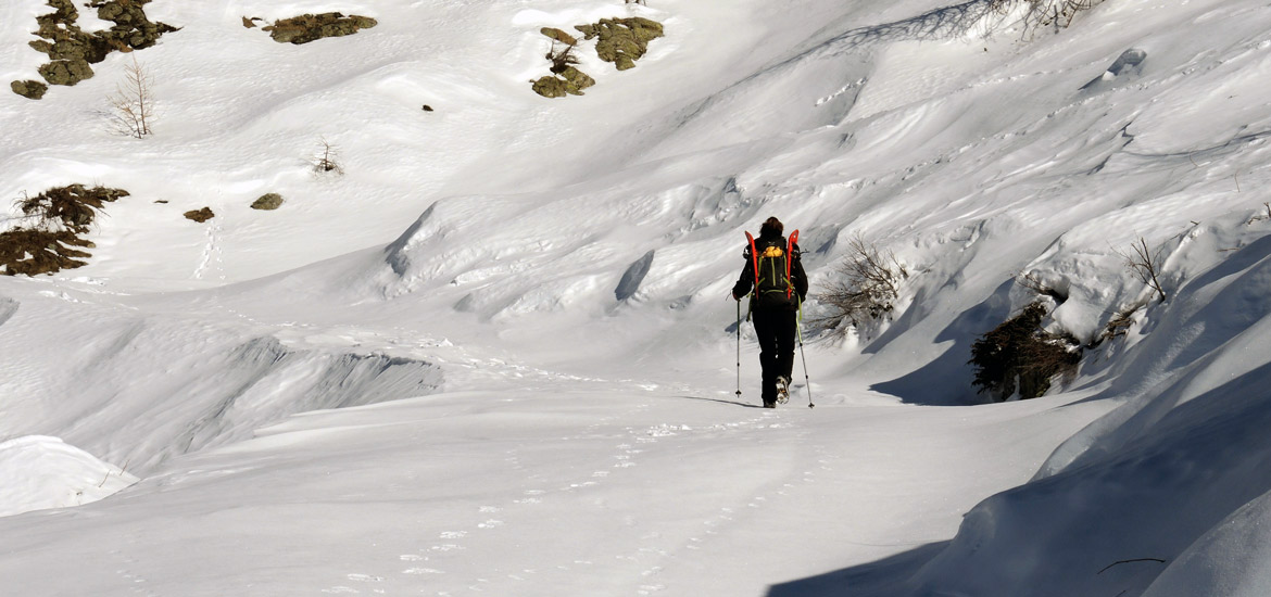 Hiking snowshoeing excursion in Piedmont and Aosta Valley