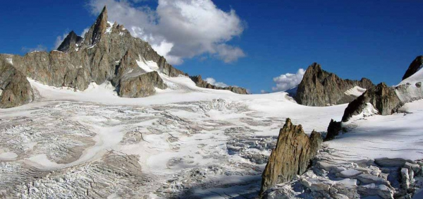 Mont Blanc glacier day tour with crampons or snowshoes, accompanied by expert Alpine Guides